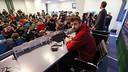 Gerard Piqué, dans la salle de presse de l'Etihad Stadium / MIGUEL RUIZ - FCB