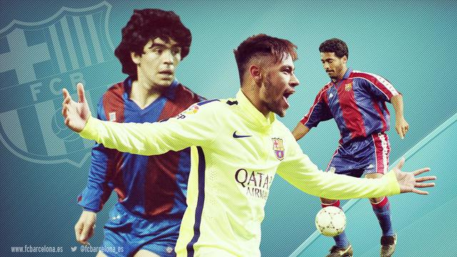 Montagem com fotos de Neymar, Maradona e Romário.