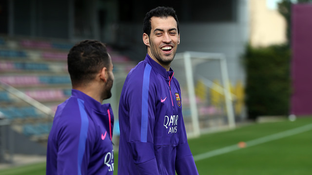 Sergio Busquets during training on Monday / MIGUEL RUIZ-FCB