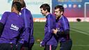 Messi et Alba lors de l'entraînement / ARCHIVES FCB