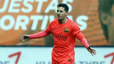 Leo Messi celebrates one of two goals in Saturday's win at Eibar. / MIGUEL RUIZ-FCB