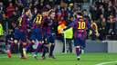 Rakitic celebrates after scoring in the first half. / GERMÁN PARGA-FCB