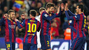 Barça celebrating victory at full time against Real Madrid / FCB