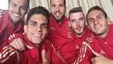 Bartra, Jordi Alba and Pedro with the Spanish squad
