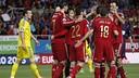 Spain celebrate Morata's goal. / FIFA.COM
