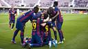 Barça B celebrating Patric's penalty / VICTOR SALGADO-FCB