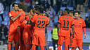 FC Barcelona players celebrate after the final whistle at Balaídos. / MIGUEL RUIZ-FCB
