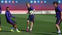 Neymar, Rakitic y Sergi Roberto, en el entrenamiento / MIGUEL RUIZ-FCB