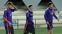 Neymar, Messi and Suárez in training/ MIGUEL RUIZ-FCB