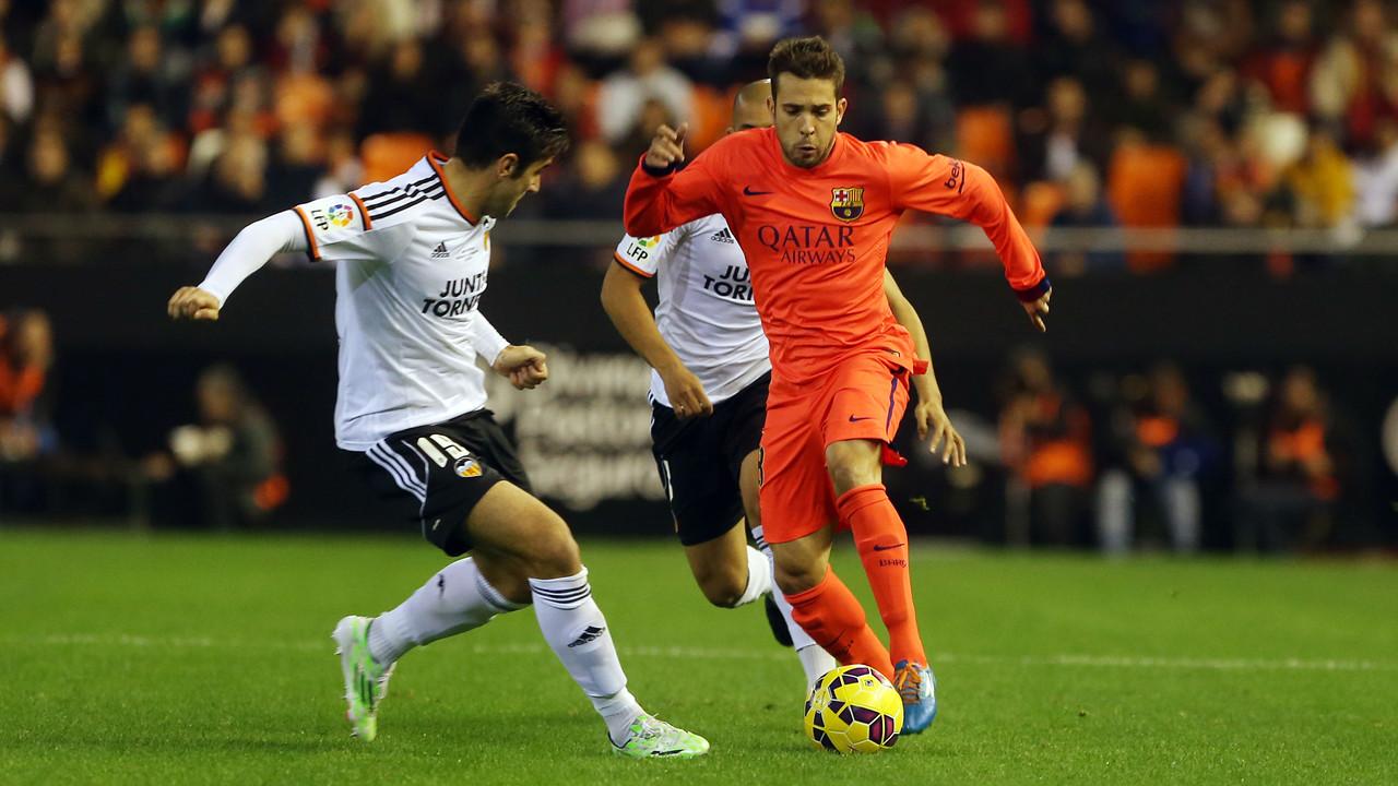 Jordi Alba, in the match against Valencia at Mestalla/ MIGUEL RUIZ-FCB