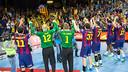 L'equip, celebrant la classificació per a la Final Four / GERMAN PARGA-FCB