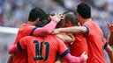 El Barça celebra un dels gols al Power8 Stadium / MIGUEL RUIZ - FCB