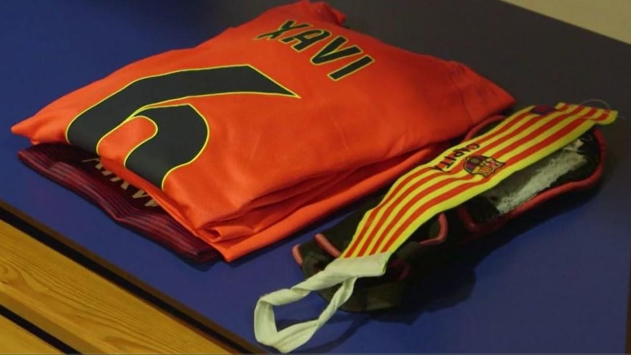 La samarreta de Xavi, abans del derbi / FCB
