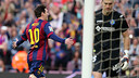 Messi celebrates the opener against Getafe / MIGUEL RUIZ - FCB