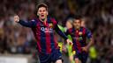Leo Messi célèbre un de ses buts / GERMÁN PARGA-FCB