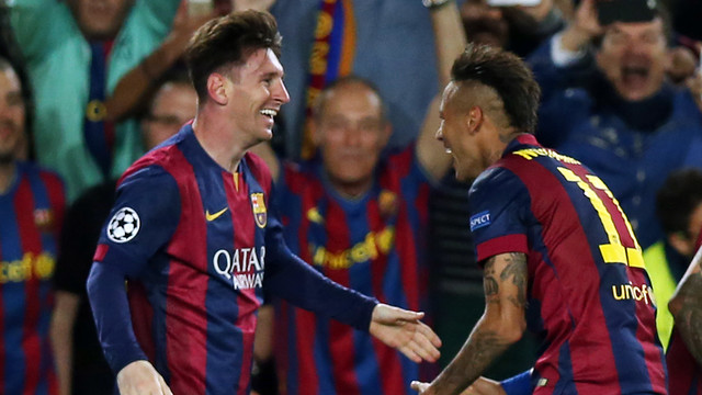 Neymar Jr celebrates after Leo Messi scored Barça's second / MIGUEL RUIZ - FCB