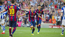 Pedro celebrates his bicycle kick goal in Saturday's 2–0 win over Real Sociedad at Camp Nou. / VÍCTOR SALGADO-FCB