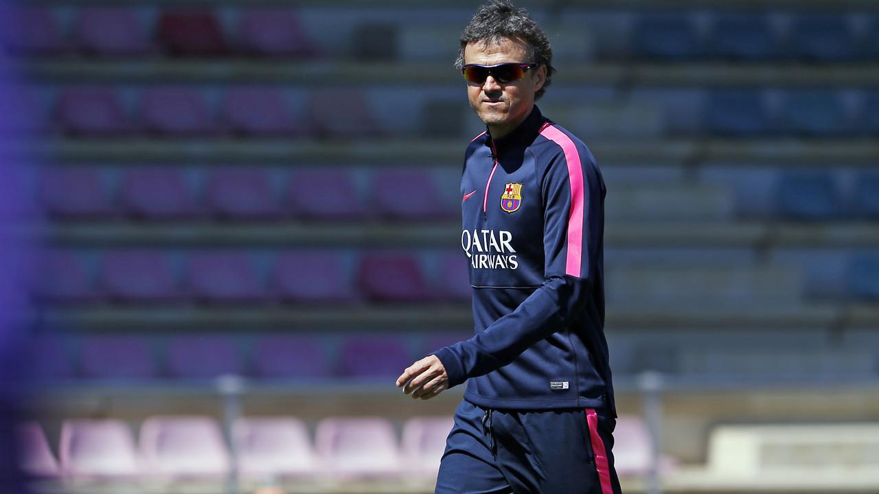 Luis Enrique, durant l'entrenament d'aquest divendres / MIGUEL RUIZ-FCB