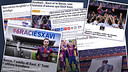 Xavi's name featured prominently in Sunday papers around the world