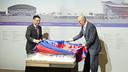 President Josep Maria Bartomeu and Jordi Moix unveiling the plans  / VICTOR SALGADO - FCB