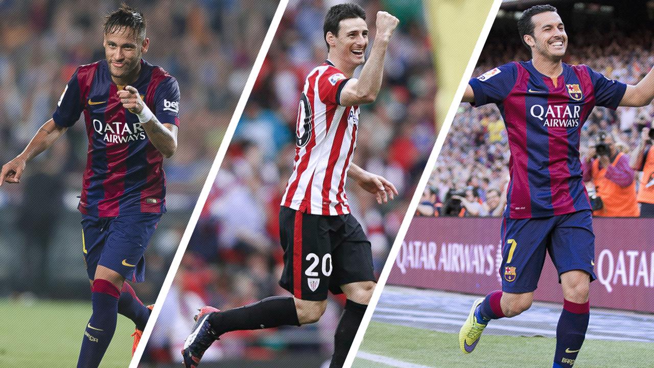 Neymar, Aduriz e Pedro / FOTOMONTAGEM FCB