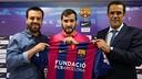 Ricard Muñoz, Edu Lamas y Ramon Vidal-Abarca, este jueves / GERMÁN PARGA-FCB
