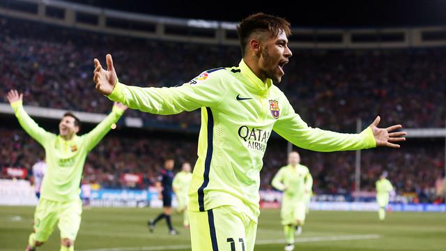 Neymar Jr. comemorando um gol no Estádio Vicente Calderón