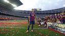 Xavi, en el seu homenatge al Camp Nou / MIGUEL RUIZ-FCB