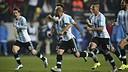 Leo Messi and Javier Mascherano celebrate reaching the semi-finals / AFA