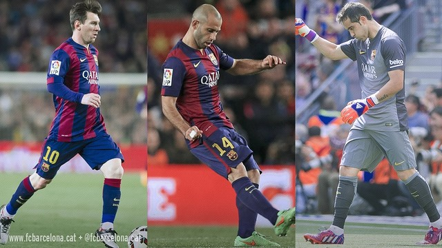 Messi, Mascherano and Bravo are vying for yet another title in 2015. / FCB