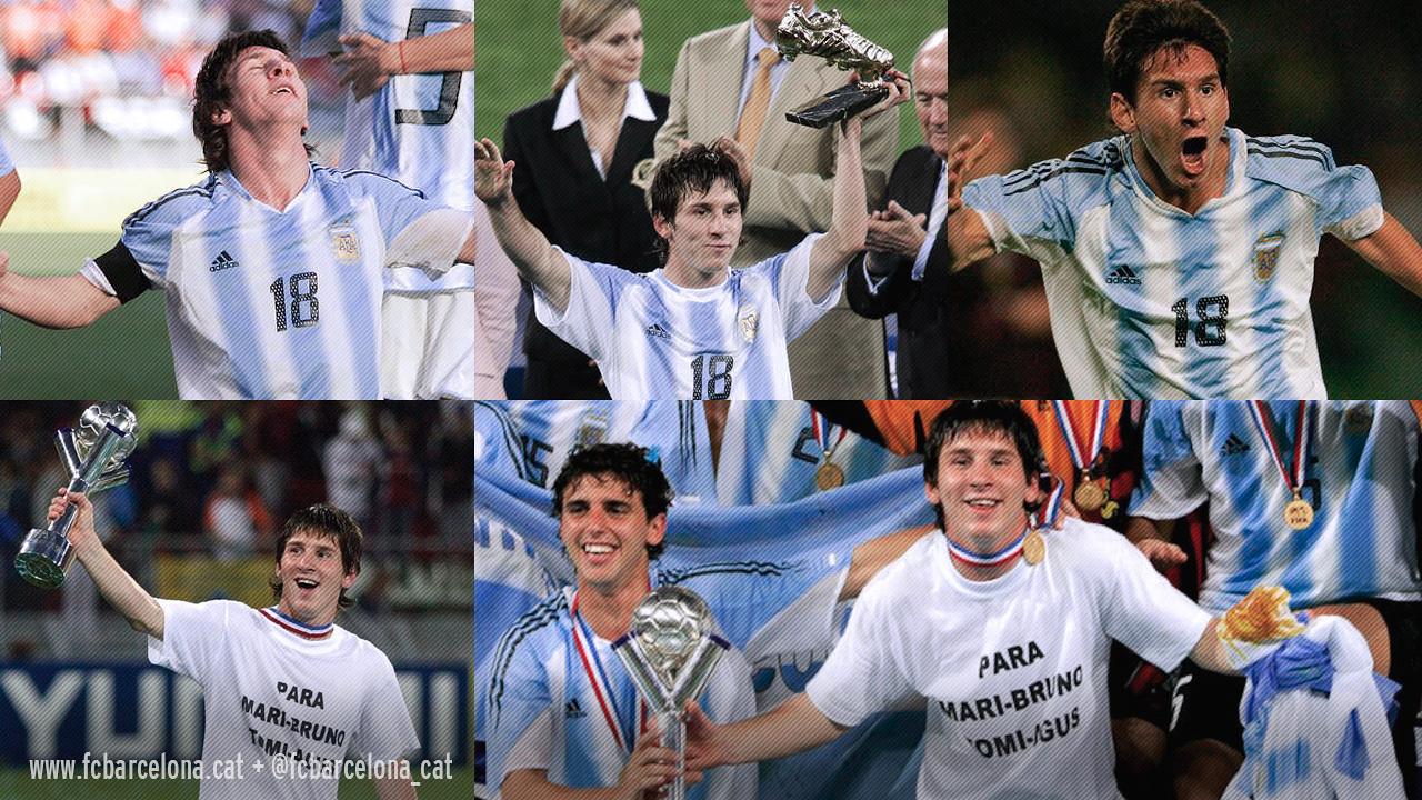 Leo Messi va liderar l'Argentina cap al títol mundial Sub-20 al 2005 / Fotomuntatge FCB