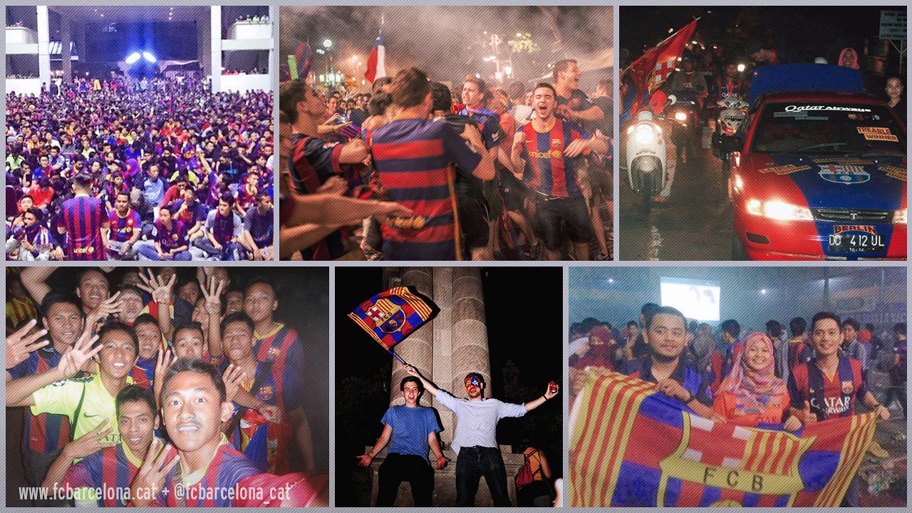 Els fans d'arreu del món van celebrar la 5a Lliga de Campions del Barça / Fotomuntatge FCB