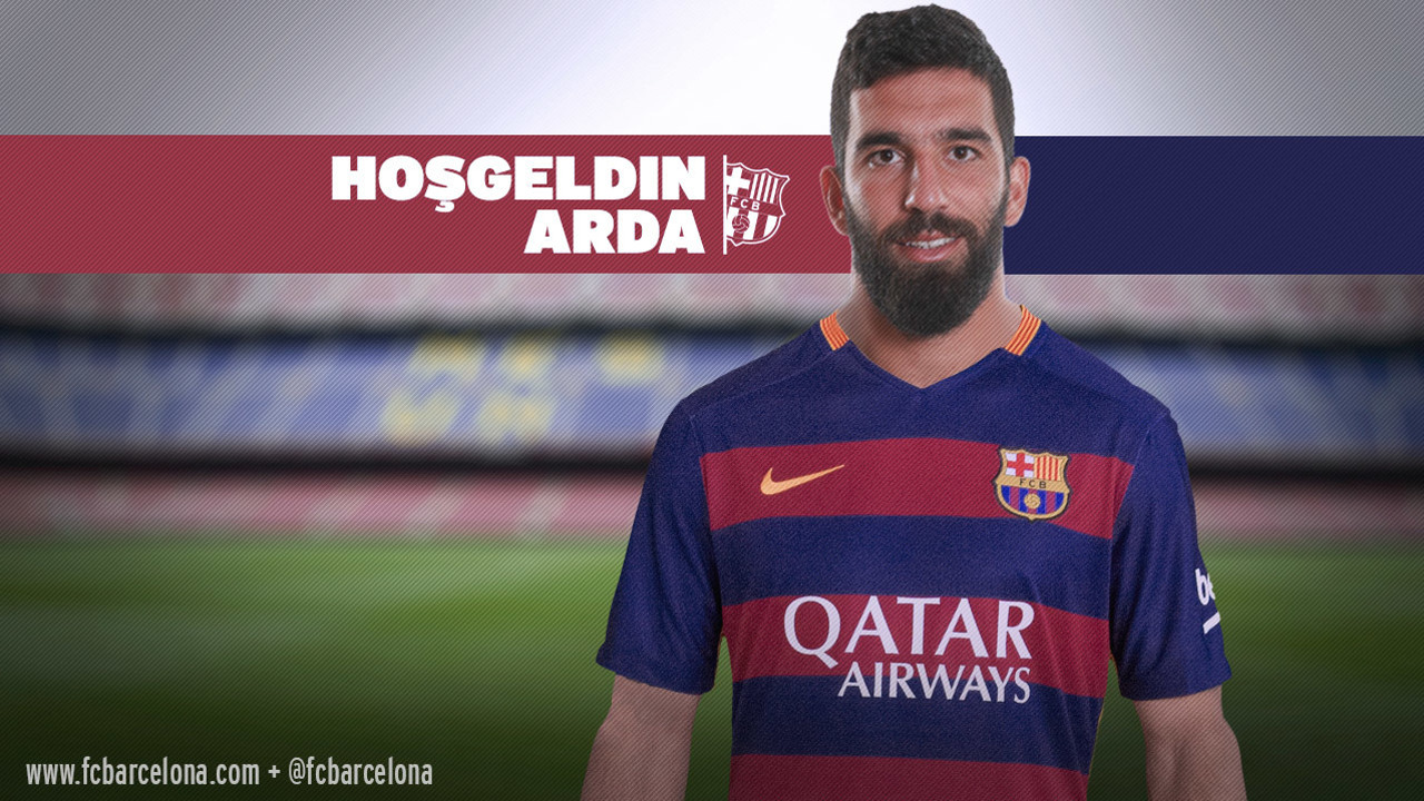 Arda Turan, new Barça signing with a welcome message in Turkish / Photomontage FCB