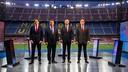 Freixa, Laporta, Bartomeu and Benedito before the debate at the Camp Nou / JOANA BURGUES