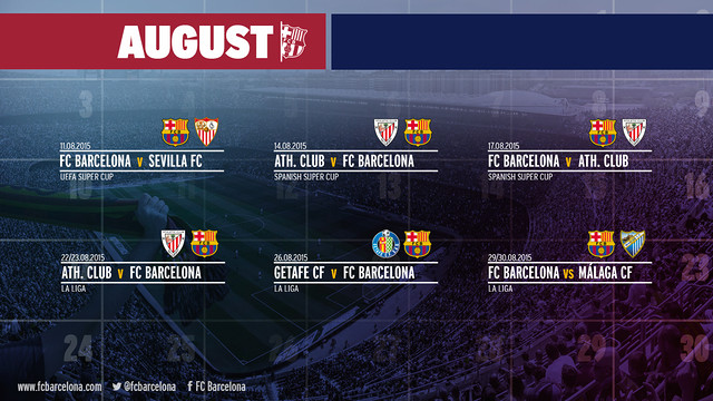 Three of Barça's six games in August will be against Athletic Club Bilbao. / FCB