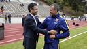 Bartomeu y Luis Enrique han conversado antes del entrenamiento / MIGUEL RUIZ - FCB