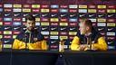 Piqué and ter Stegen speak to reporters in downtown Washington DC. / MIGUEL RUIZ-FCB