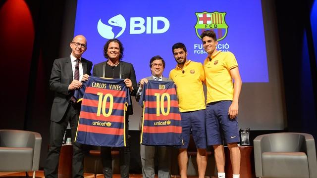 Cardoner, Vives, Moreno, Suárez i Bartra durant l'acte a Washington