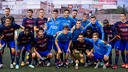The Barça B players with the ManlleuTrophy after the game / GERMÁN PARGA-FCB
