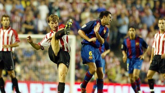 Former Barça captain Xavi Hernandez in the last league opener in Bilbao / FCB archive
