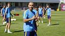 Mascherano, somrient a l'entrenament d'aquest matí / MIGUEL RUIZ - FCB