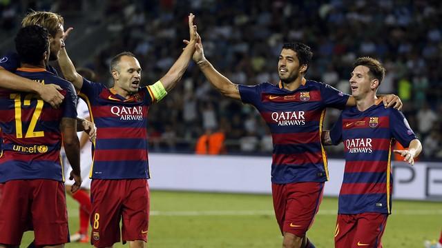 Iniesta, Suárez and Messi celebrate another goal under Luis Enrique / MIGUEL RUIZ-FCB