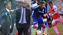 Pedro, Alexis, Guardiola et Lopetegui  / FOTOMUNTATGE FCB