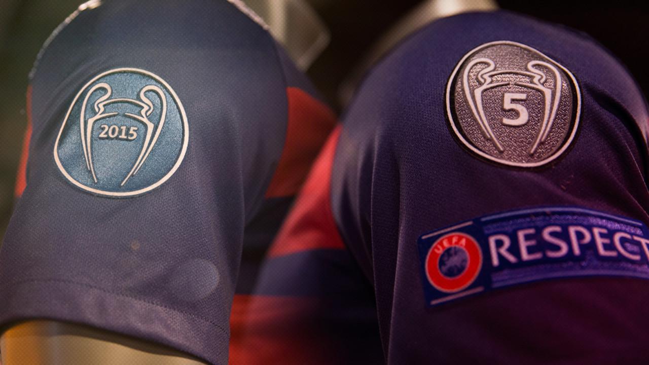 Els nous badges que lluirà el Barça a la samarreta en els partits de Champions / FOTOMUNTATGE FCB
