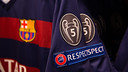 El Barça lluirà un badge que l'acredita com a guanyador de 5 Champions / GERMÁN PARGA - FCB