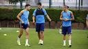 Munir, Suárez and Sandro training on Friday morning / MIGUEL RUIZ-FCB