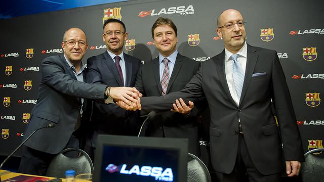FC Barcelona professional teams will sport the Lassa Tyres logo for four seasons. / VÍCTOR SALGADO-FCB
