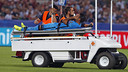 Rafinha is carted off the field of the Stadio Olimpico in Rome on Wednesday night. / MIGUEL RUIZ - FCB