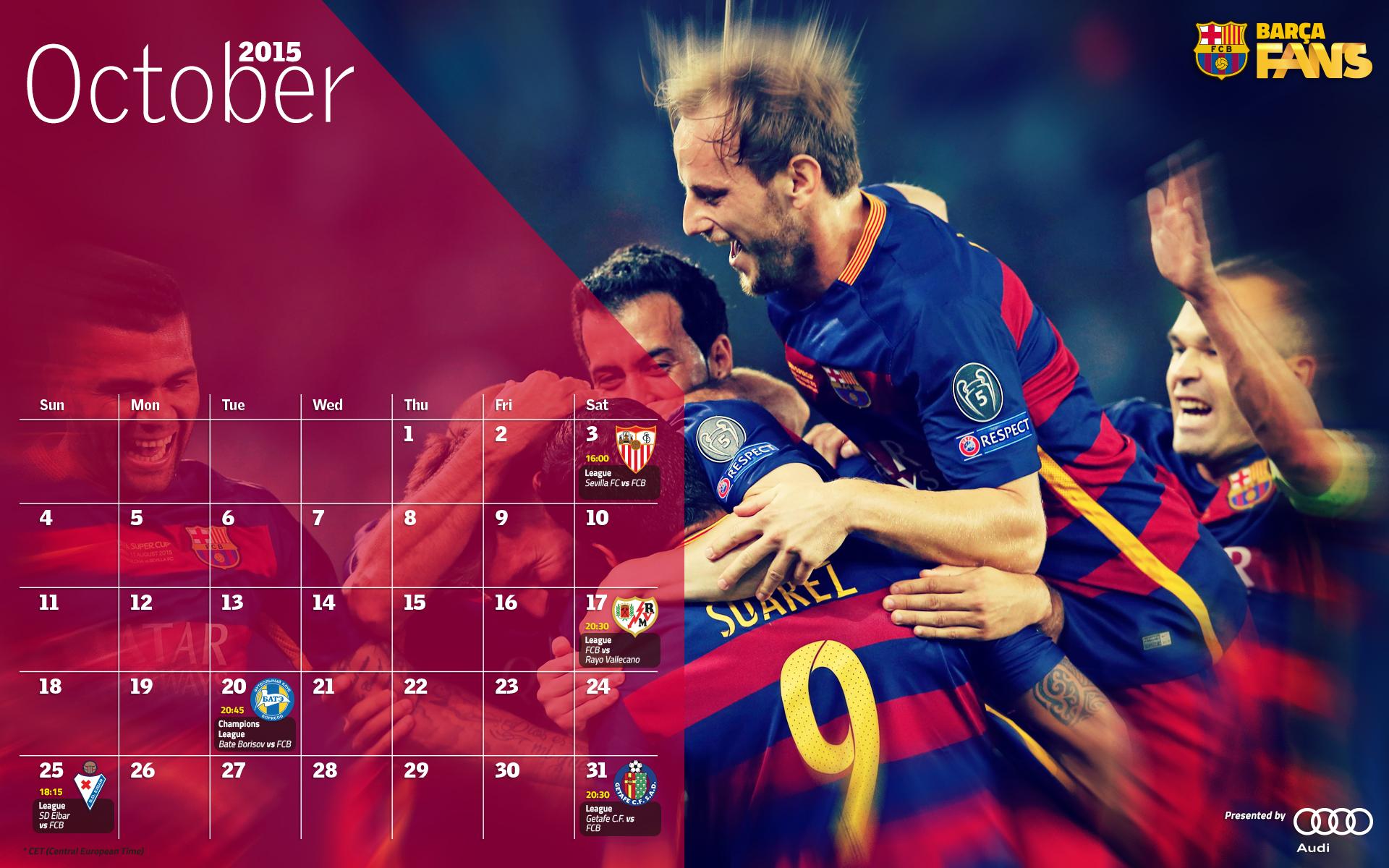 Barcelona Calendar Wallpaper : Infografika kalendár zápasov na október forcabarca sk