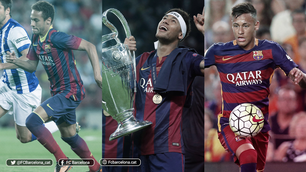 Neymar Jr, centenari, en les tres temporades al Barça / FCB